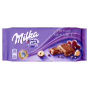 Milka alpesi tejcsokoládé mazsolával és mogyoróval 100g
