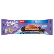 Milka Oreo alpesi tejcsokoládé vanília ízű tejszíneskrémmel és kakaós keksszel 300g