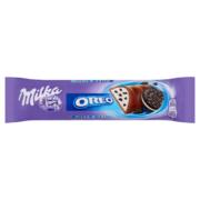 Milka Oreo alpesi tejcsokoládé kakaós kekszdarabokkal és van.íia zű tej krémmel töltött 41g