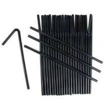 Szívószál műanyag vastag fekete 500db/cs 114