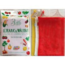 Környezetbarát, újrahasználható zöldség- és gyümölcs zsák 26x36cm 3db/cs 13007
