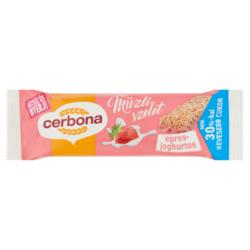 Cerbona epres-joghurtos müzliszelet eper ízű bevovóval cukorral és édesítőszerrel 20g