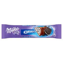 Milka Oreo alpesi tejcsokoládé kakaós kekszdarabokkal és vanília ízű tej krémmel töltött 37g