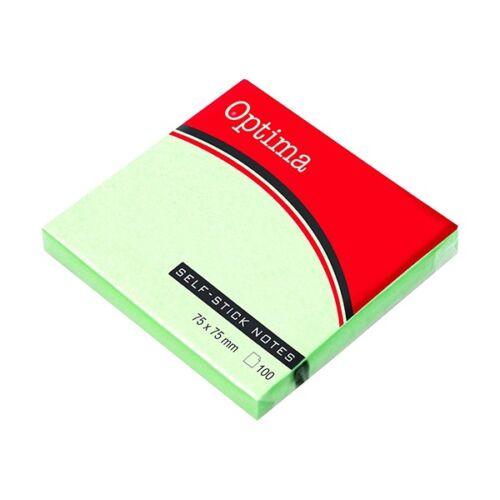 Öntapadós jegyzet OPTIMA 75x75mm pasztell zöld 100 lap