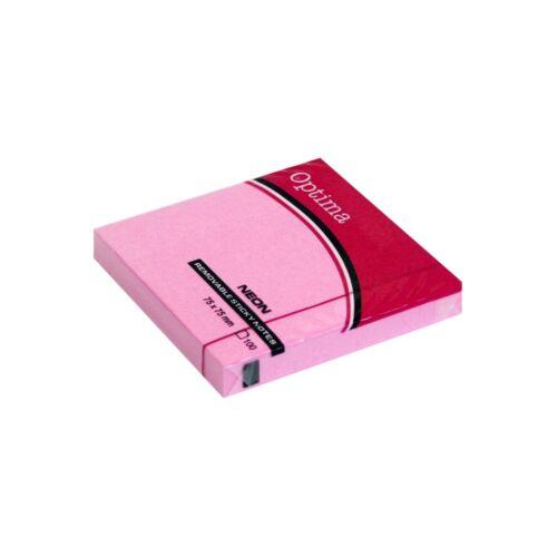Öntapadós jegyzet OPTIMA 75x75mm neon rózsa 100 lap