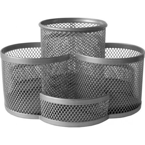 Írószertartó fémhálós forgatható  ezüst