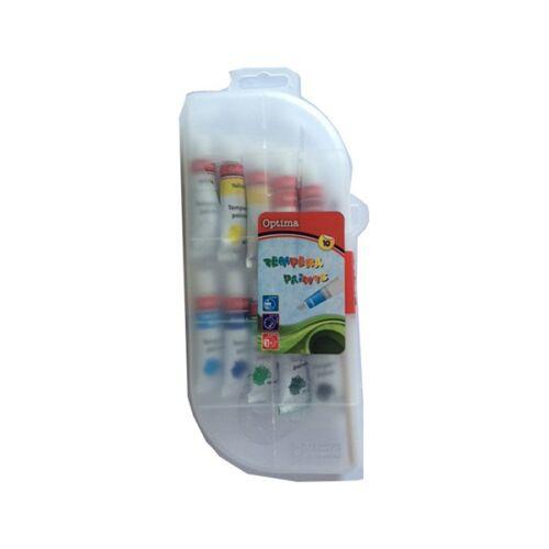 Tempera OPTIMA műanyag tokban 10 ml 10db-os készlet