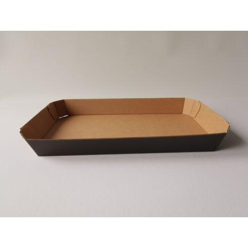 Fekete/barna papírtálca 24x12x3 cm 320db/# 13083