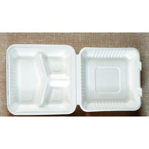 KOMP Cukornád natúr 3 részes ételes papírdoboz 23X23x8cm  100db/cs 12667