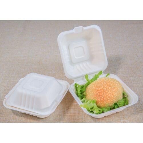 KOMP Cukornád natúr hamburger papírdoboz 15X15x7cm 125db/cs 12662