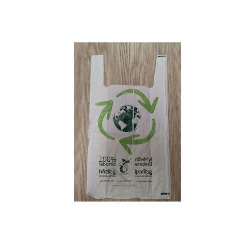 Komposztálható ingvállas táska, fehér, 40x50 cm, 20 mc, CSOM 500db/cs 12610, 12635
