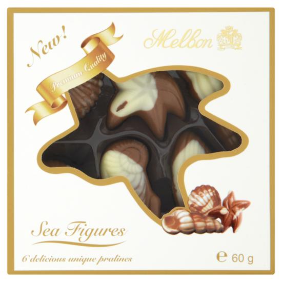 Melbon tengeri csigák tejes fehér csokoládé mogyorókrémmel 6 db 60g